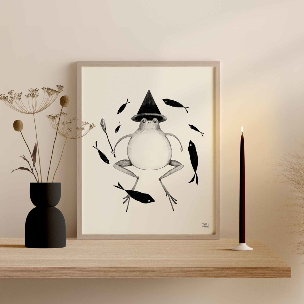 frog witch toad art print