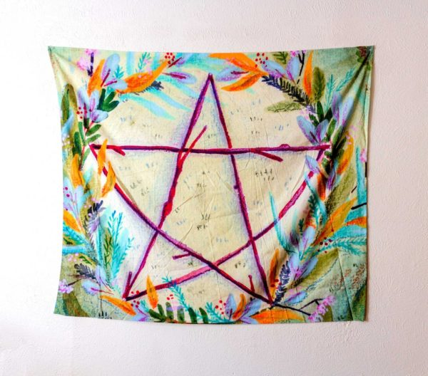 Sweet Omens Witch Tapestry, Green Pentacle
