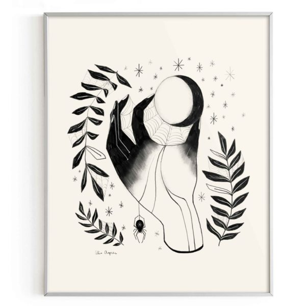 Sweet Omens Moon Witch Hand Art Print
